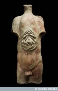 L0058445 Votive male torso, Roman, 200 BCE-200 CE