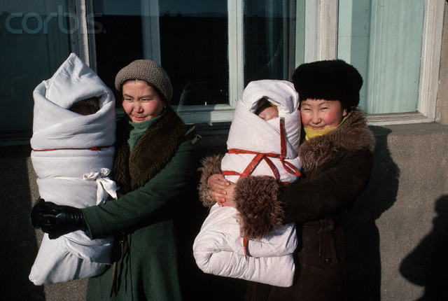 Mothers Holding Swaddled Infants, Mongolia