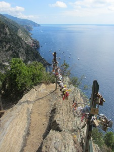 Love-locks on the Cinque Terre trail, Italy, 09.2014