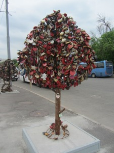 Tree-like structure designed to hold love-locks, Moscow, Russia, 05.2013