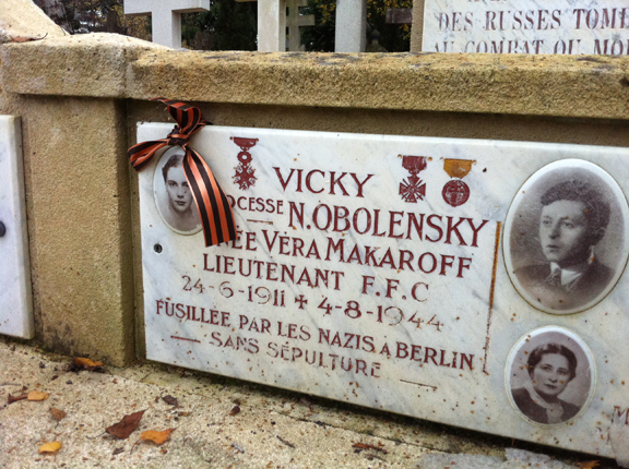 Ribbon of Saint George marking the tomb of the resistance fighter.