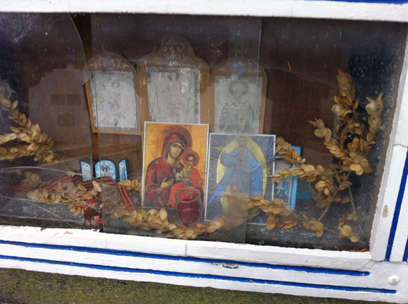 Icons placed at a grave.