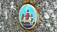 Ceramic medallion with image of Saint Basil's Cathedral in Red Square, Moscow.