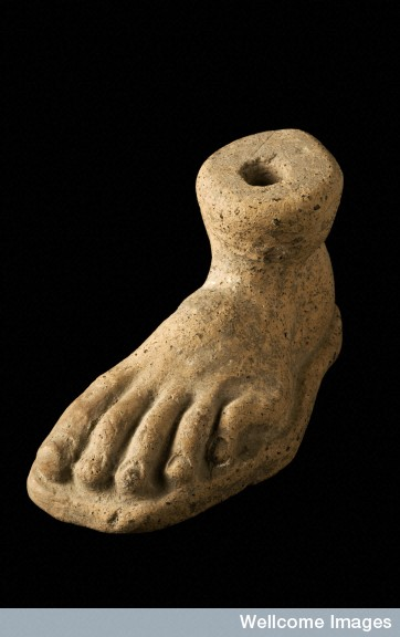 L0058428 Votive left foot, Roman, 200 BCE-200 CE