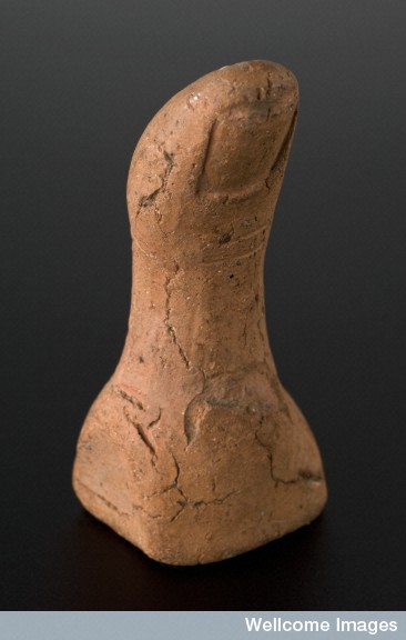 L0058429 Terracotta votive offering of a left thumb, Roman, 100 BCE-3