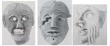 Left: Grotesque mask, termed 'Old Woman' by Dickins (1929: pl.47). Centre: Grotesque mask, termed 'Caricature' by Dickins (1929: pl.61). Right: Drawing representation of grotesque mask, termed 'Portrait' by Dickins (1929: pl.55).