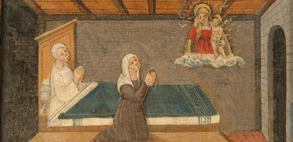 Woman with a rosary supplicates the Madonna of Lonigo on behalf of a sick woman, 1510 Madonna dei Miracoli, Museo degli ex voto, Lonigo
