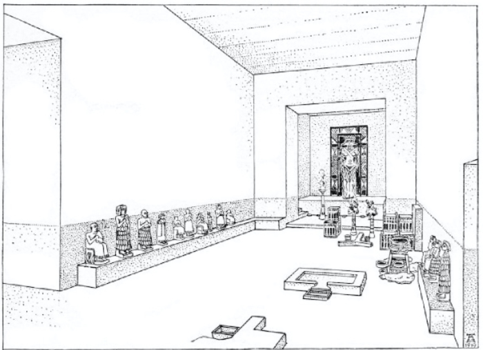 Figure 2. Modern reconstruction of how the votive statues would have been placed at the temple of Ishtar in Assur. Image taken from Andrae 1922, fig. 11a