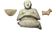 Figure 4. Votive objects (to scale) dated to the Early Dynastic period (2900-2350BCE). Left to right: Votive calcite bowl from Nippur, 2600-2350 BCE (MMA 59.41.11, Metropolitan Museum of Art, CC0 1.0 Universal); Stone votive statue from Tell al' Ubaid of an individual named Kurlil, 2600-2500 BCE (BM 114207, courtesy of the British Museum); Votive clay figurine of a sheep from Ur, 2600-2350 BCE (B17201, Courtesy of the Penn Museum)