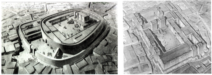 Figure 1. Left: Isometric drawing showing a reconstruction of the Early Dynastic Oval temple at Khafajah/Tutub. Courtesy of The Oriental Institute, University of Chicago. Right: Reconstruction of the temple of Ishtar-Kititum at Ischali, dated to the Isin-Larsa period. The worshippers had to climb up the stairs from the courtyard, enter another courtyard and turn right to reach Isthar's shrine.